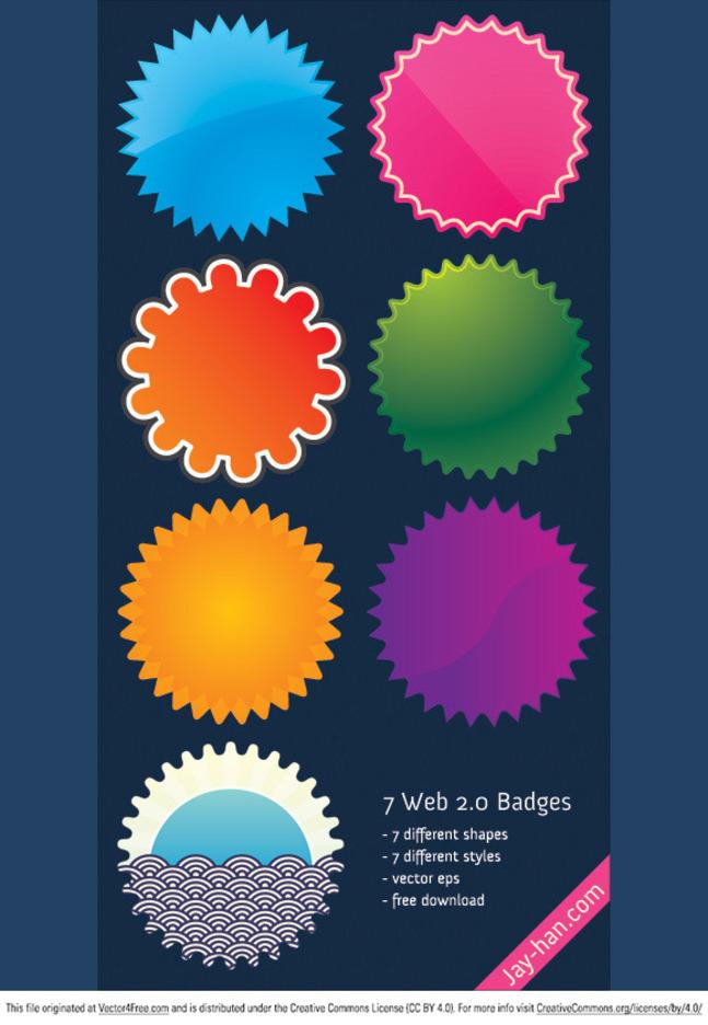 7 Web 2.0 badges vector