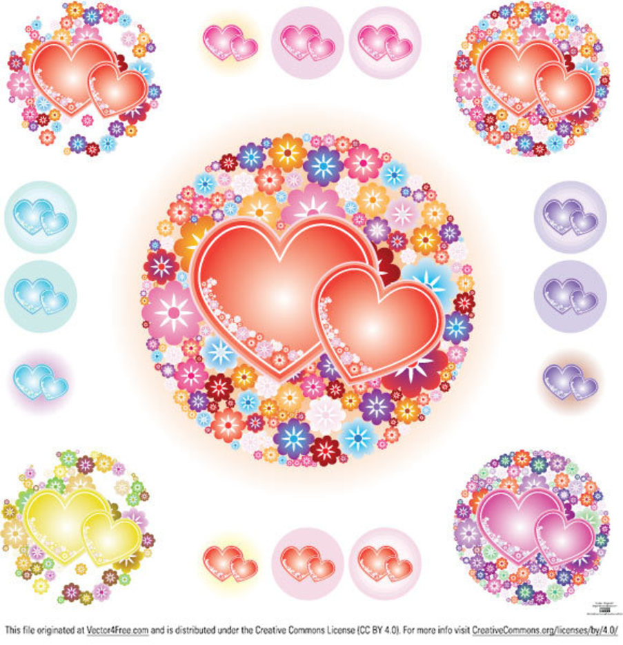 Flowery Hearts Vector