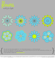 8 Simple Vector Flowers