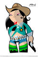 Asian Cowgirl Mascotte
