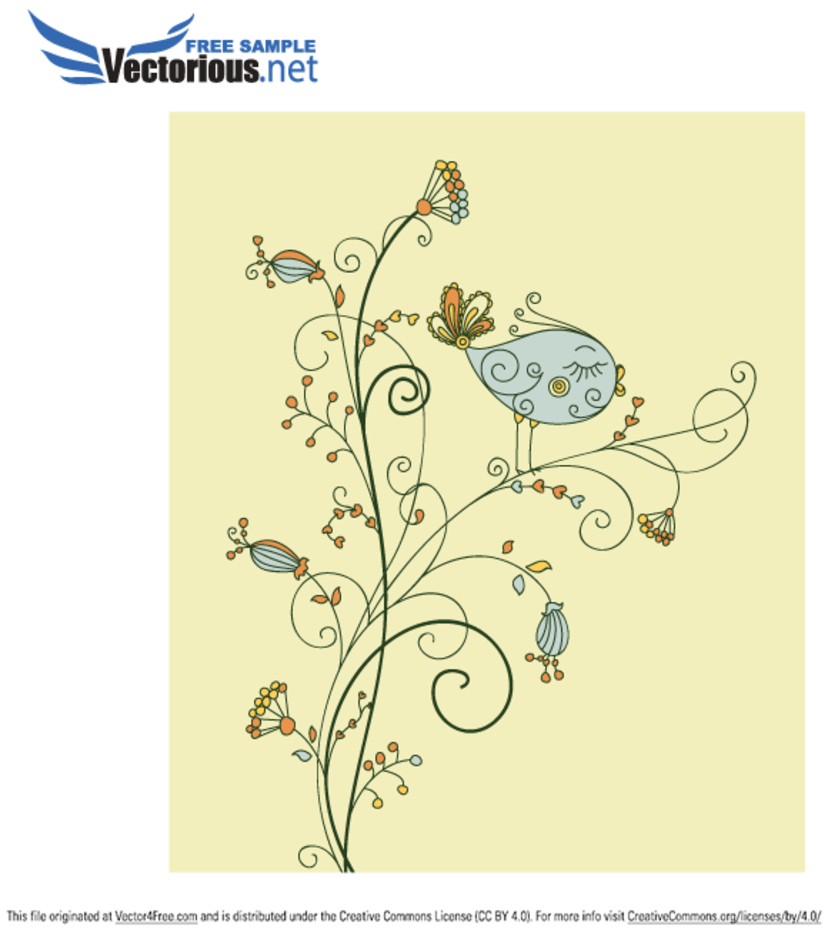 Vector Leaf Bird on Floral