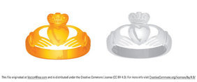 Claddagh Ring Vector - Gold and Silver
