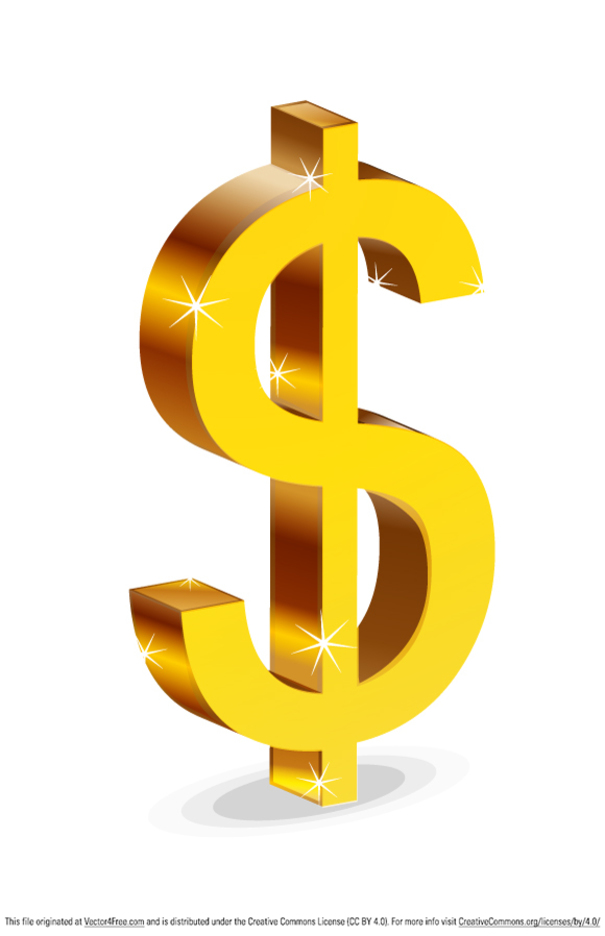 Glossy Dollar Sign Isolated