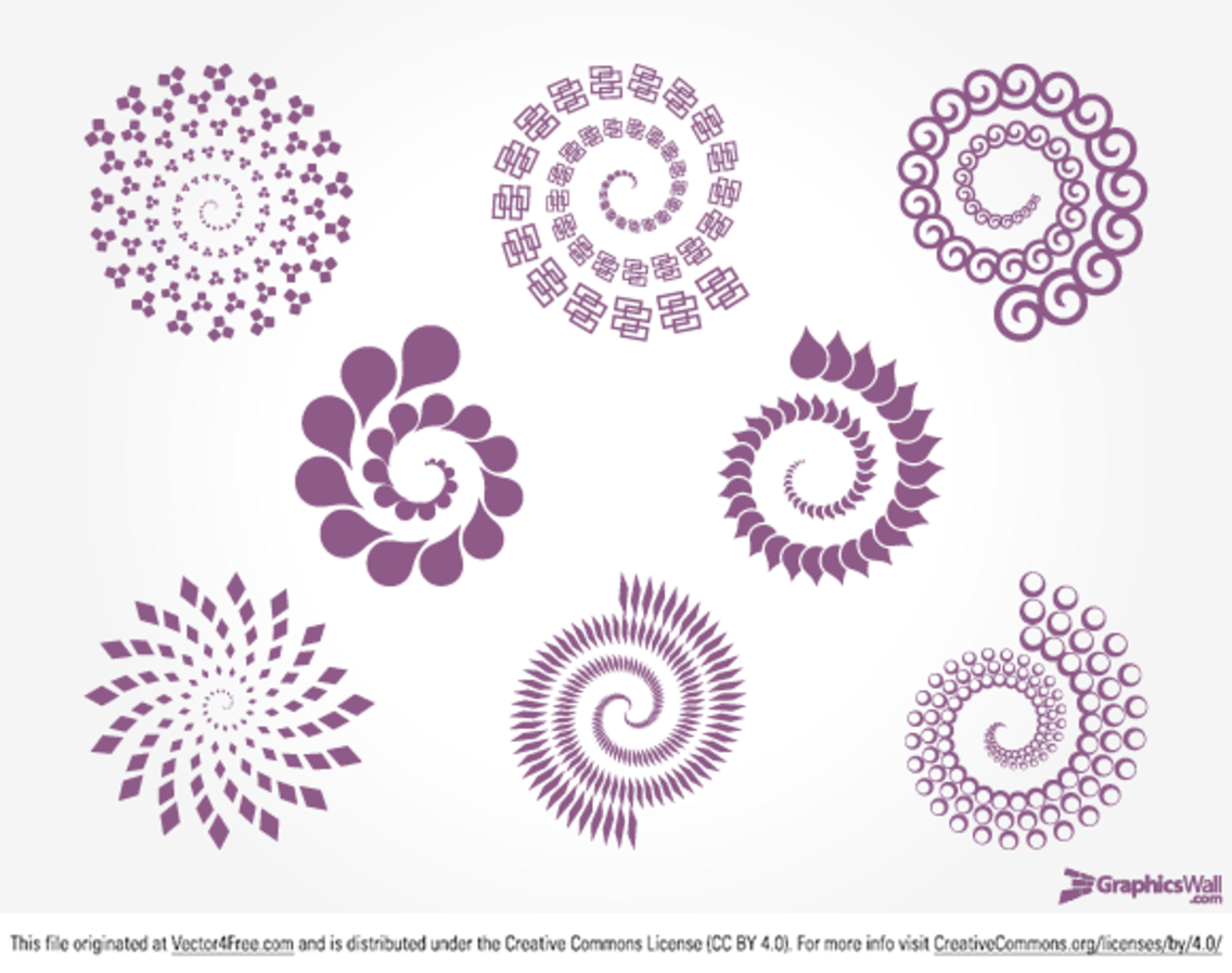 8 Spirals - Free Vector Set