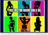 Vector Bikini Girls Pop Art Style Background