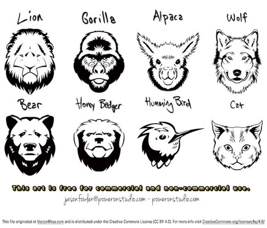 8 Vector Animal Head