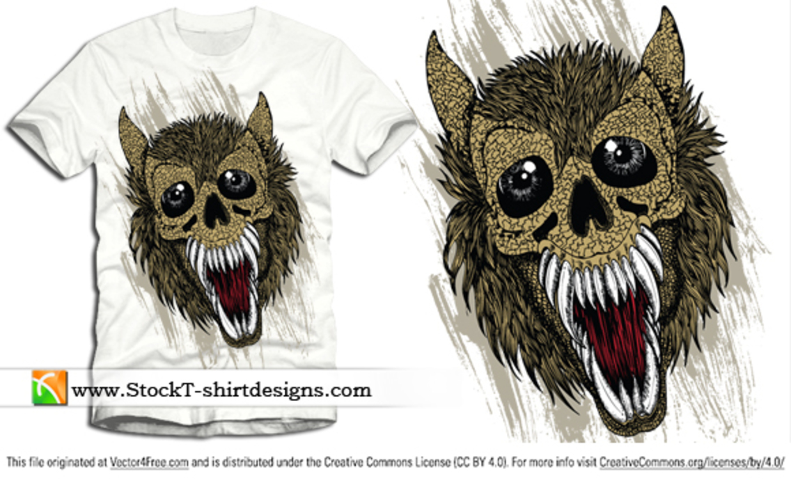 Free Vector T-shirt Design with Wolf