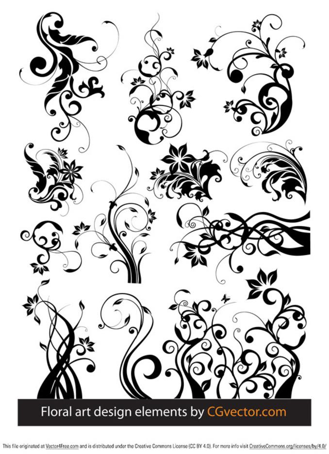 Floral art design elements