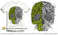 Skull Ornament Free Vector T-shirt Design Illustration