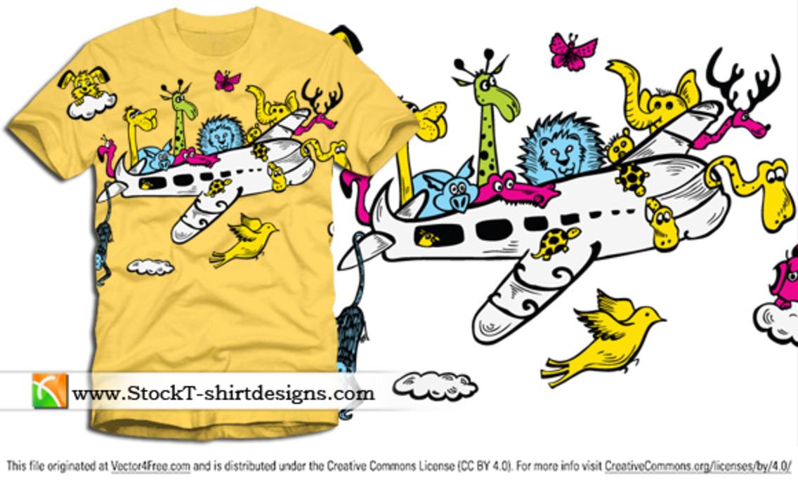 Cartoon Animals Riding Airplane