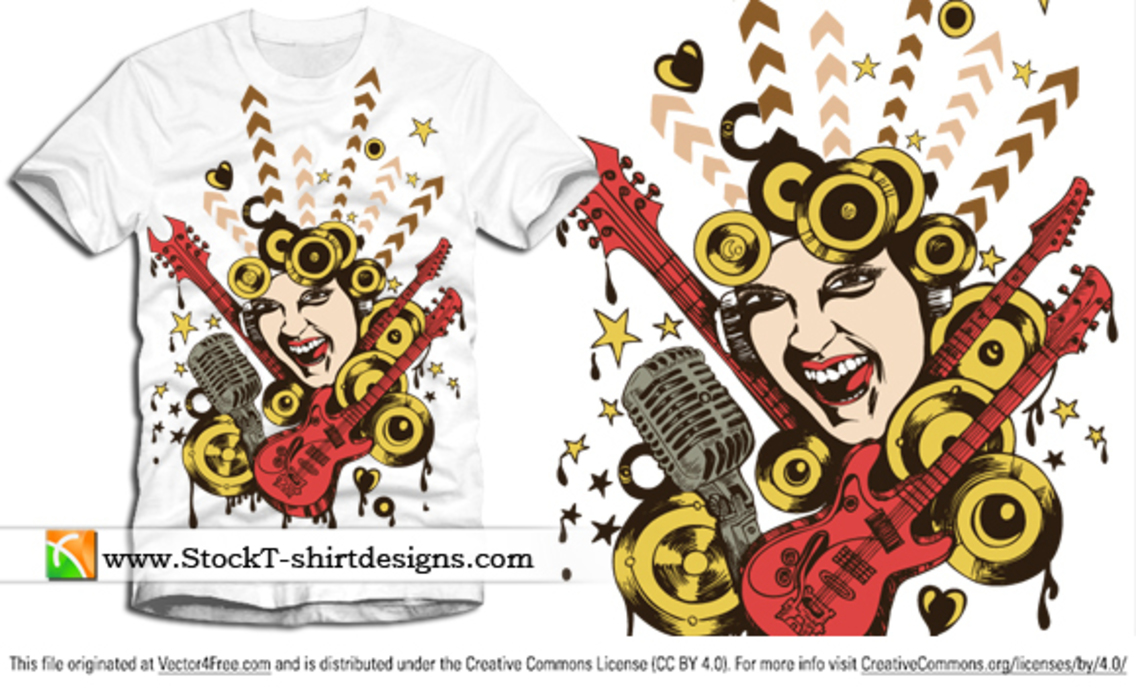 Free Vector T-shirt Design with Singing Girl and Guitar