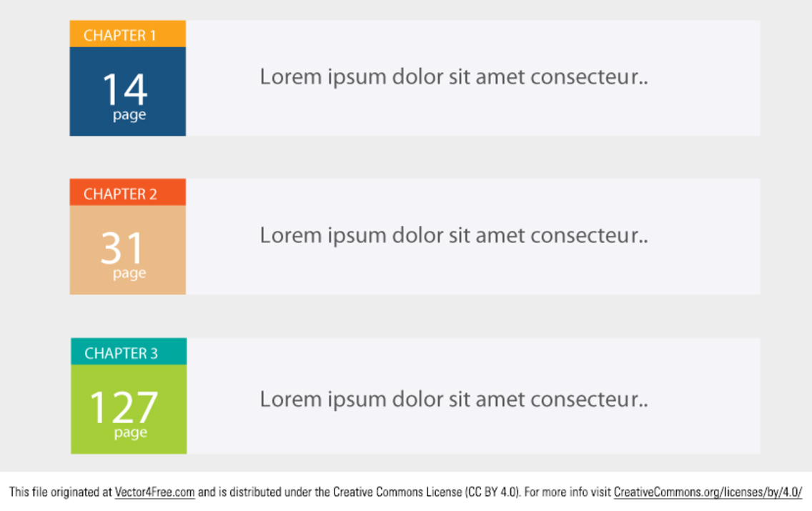 Editable Table of Contents Vector