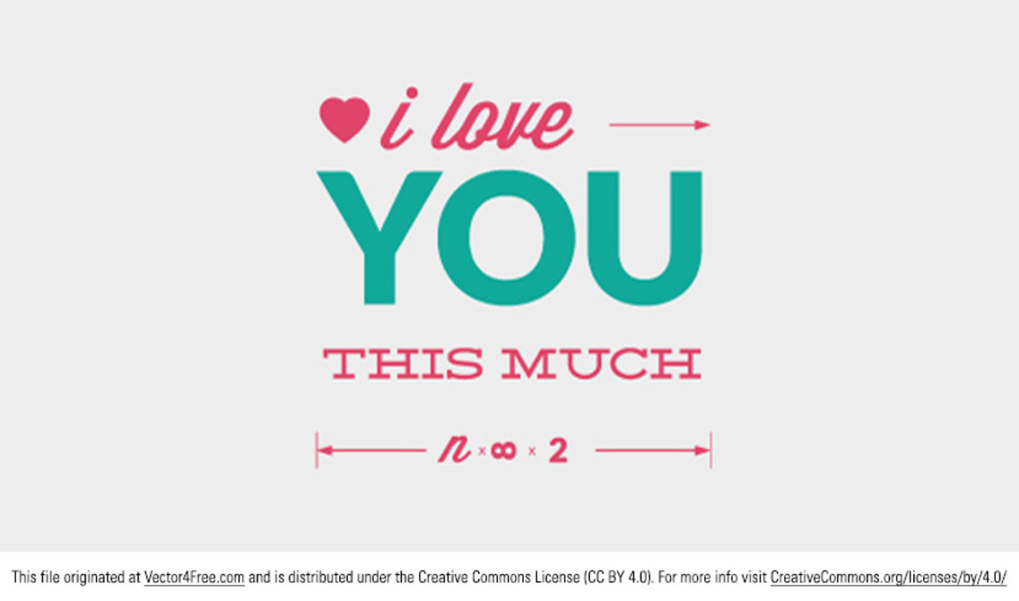 Love You Vector Typographic Message