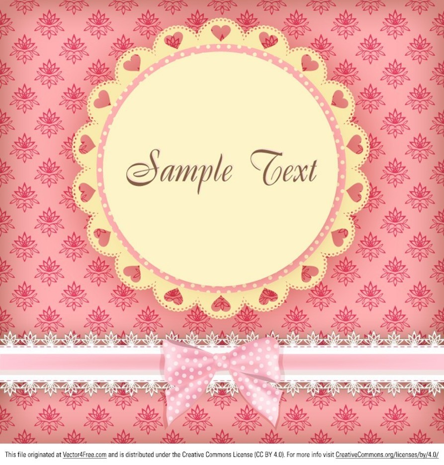 Floral Pink Card Vector