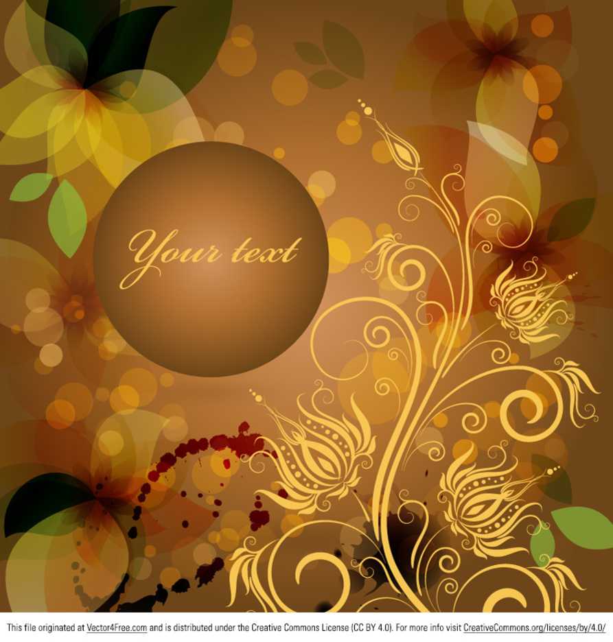 Amber Floral Background Vector