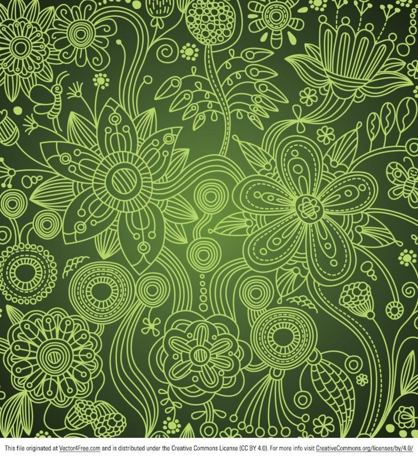 Green Floral Vector Swirl