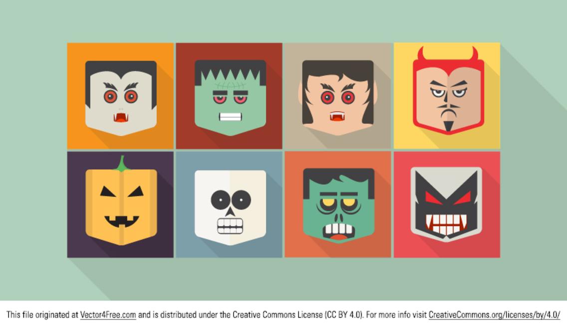 Flat Halloween Vector Characters