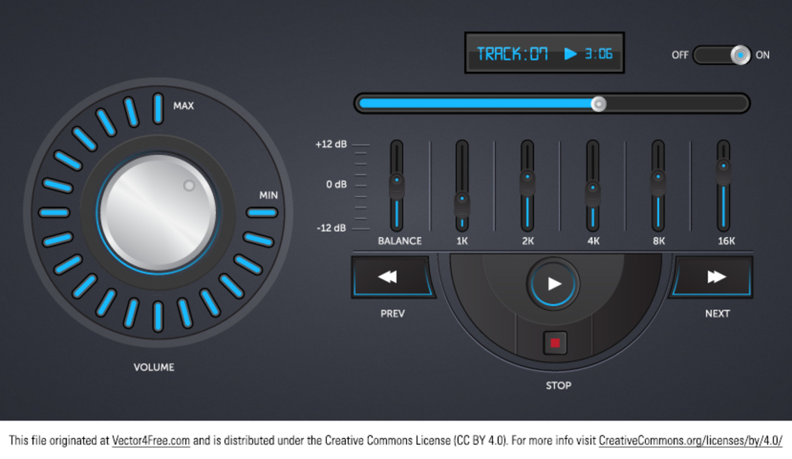 Free Music Player Vector Interface