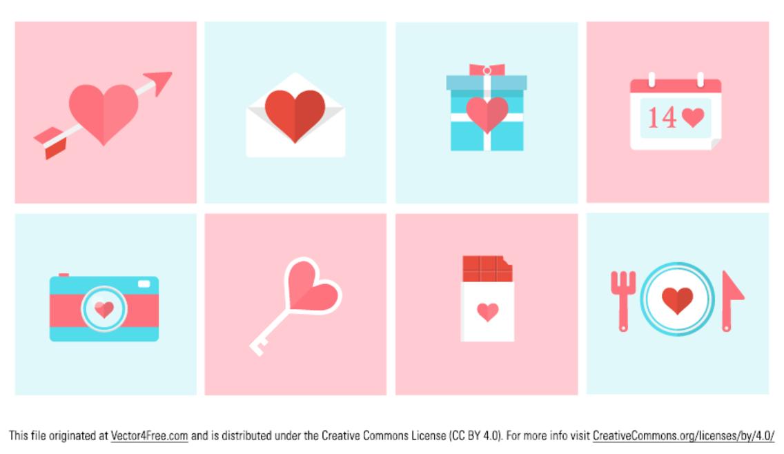 Flat Valentine Icon Vectors