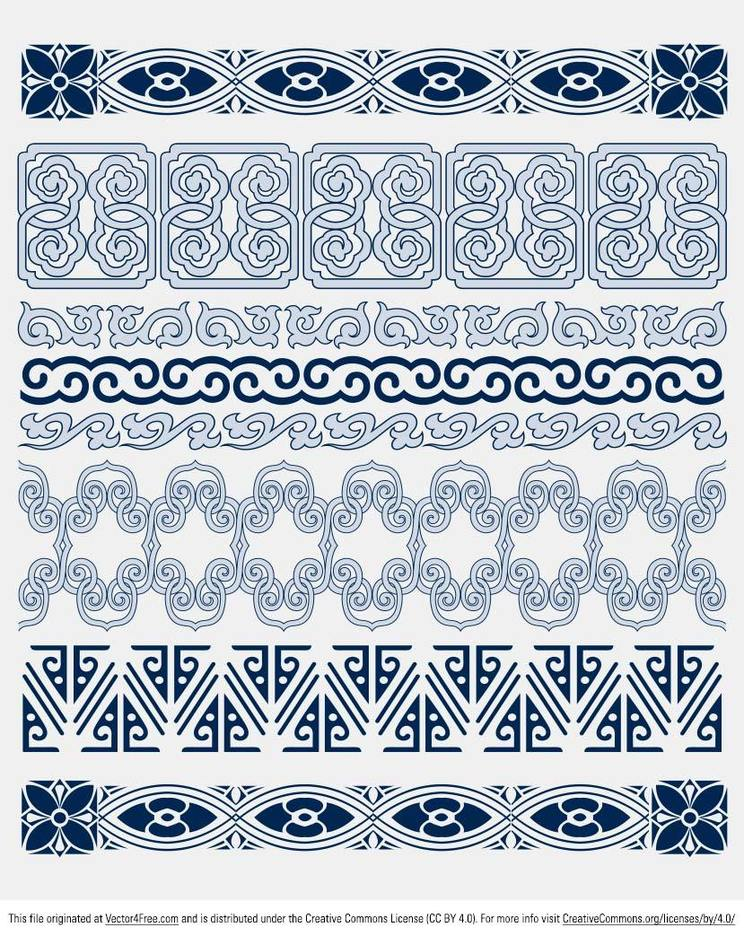 Free Blue Decorative Border Vectors