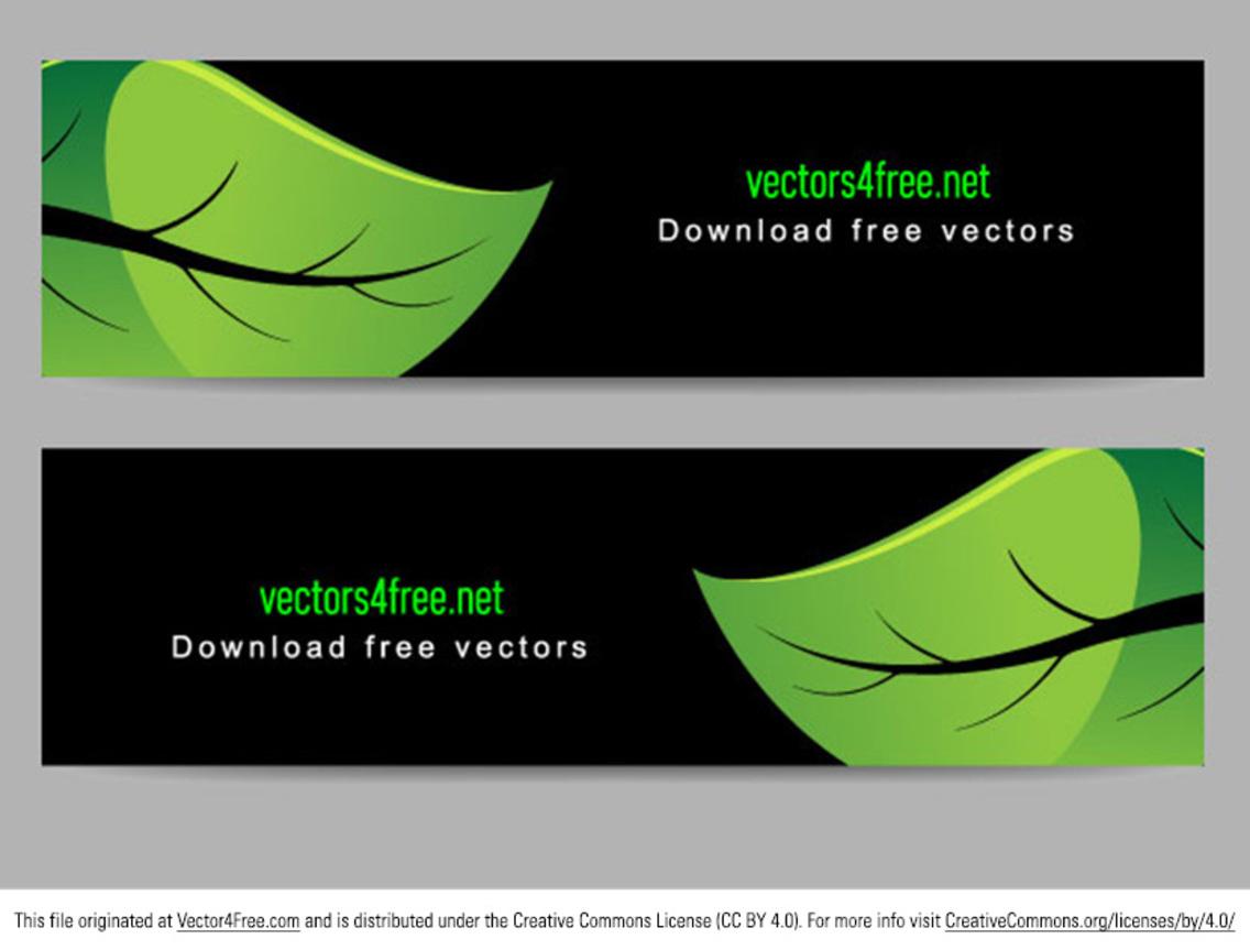 Bright Green Leaf Banner Vectors