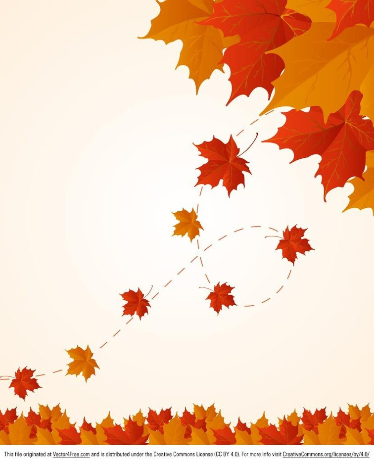 Red and Orange Fall Leaves Vector Background