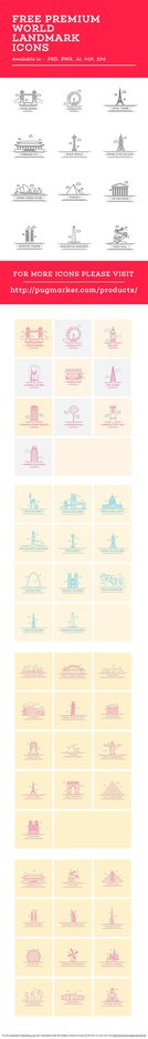 Free World Landmark Icons Vector Set