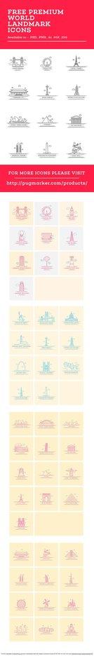 Free World Landmark Icons Vector Set