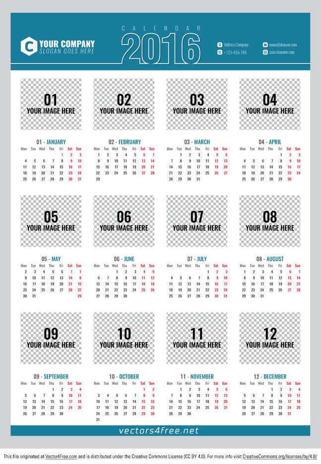 Free Poster calendar 2016 vector