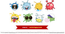 Cute Ball Character Monster Vectors