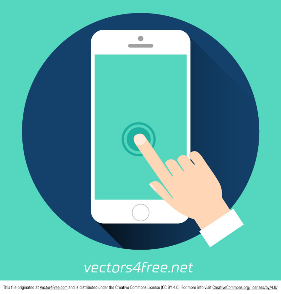 Free Hand Touching Blank Screen Vector