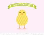 Simple Geometric Easter Chick Vector