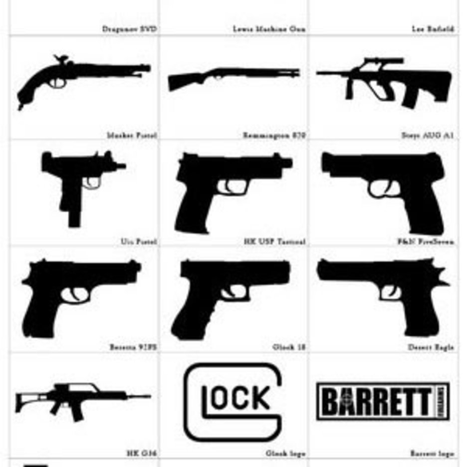 Photoshop Custom Shapes Guns