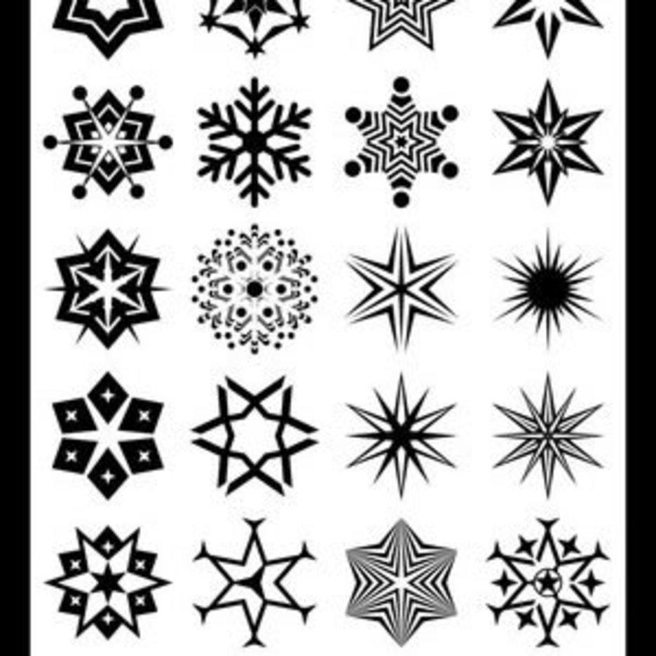 24 Abstract Snowflake Shapes B