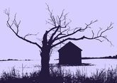 Winter Tree And Cabin Vector
