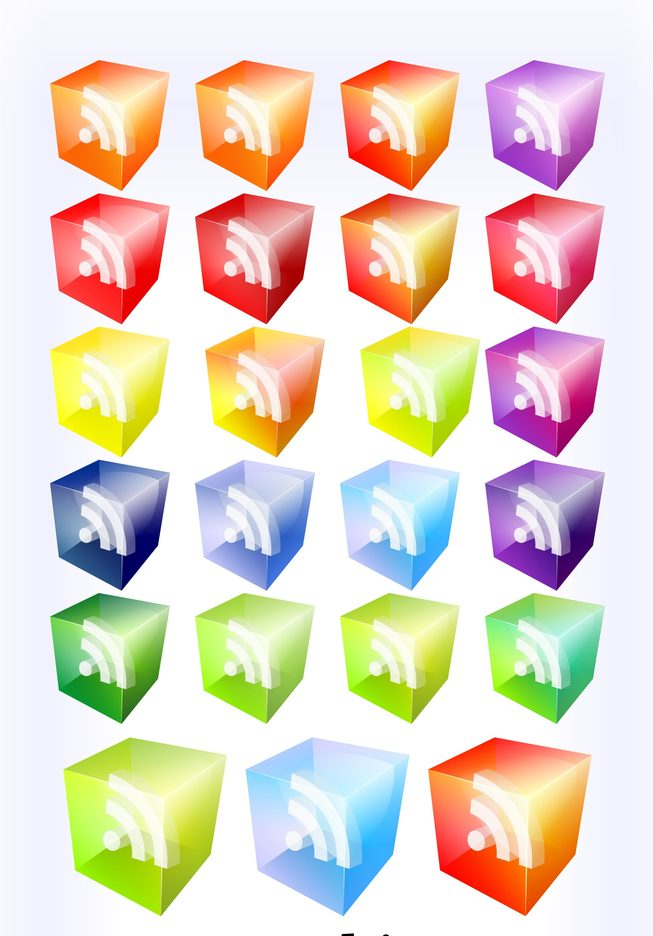 40 Translucent 3D Look Rss Vector Icons