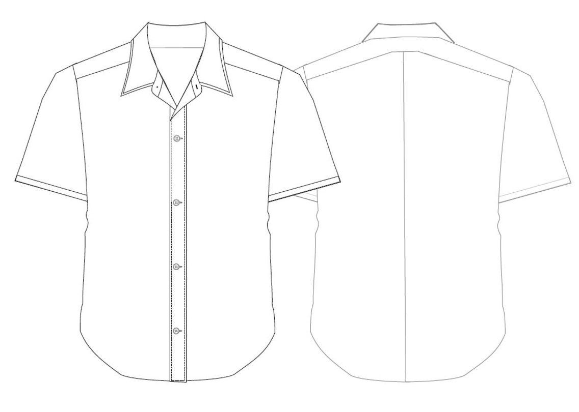 short sleeved shirt template freevectors. Black Bedroom Furniture Sets. Home Design Ideas