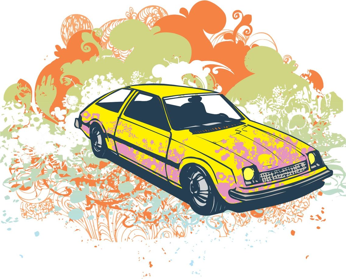 Grunge Hatchback Vector Illustration