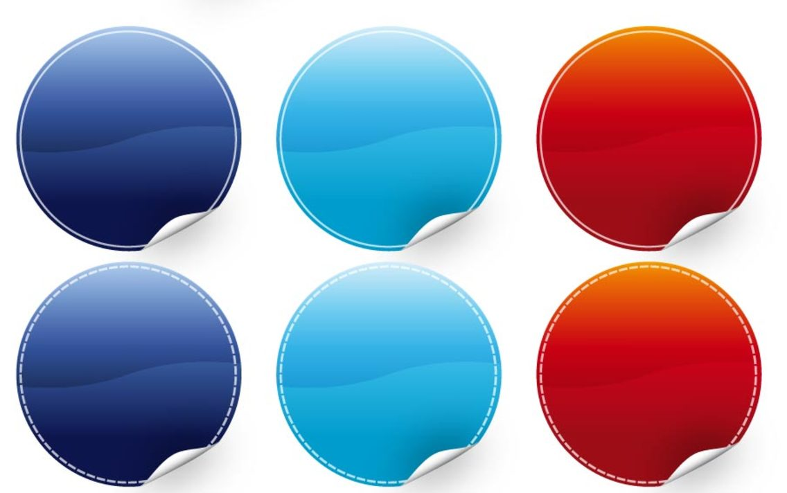 20 Poppy Color Sticker Vectors