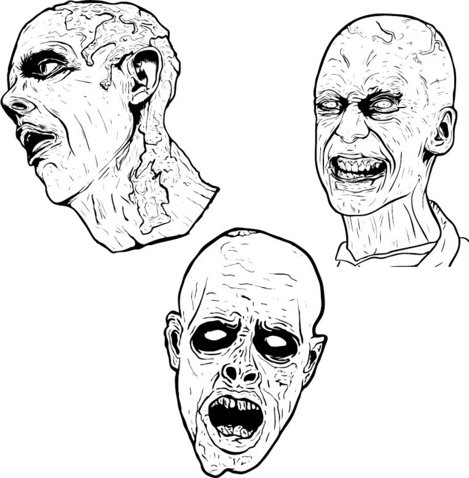 3 Free Illustrated Scary Zombies