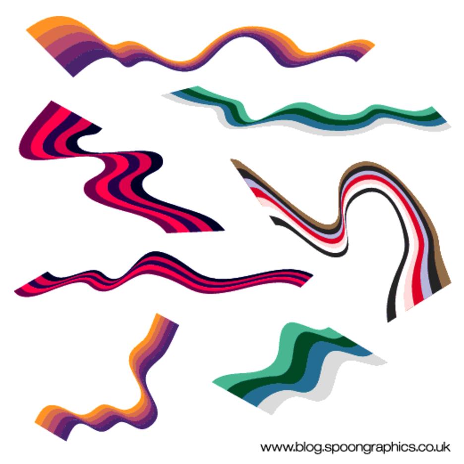 Abstract Wavy Ribbon Vectors