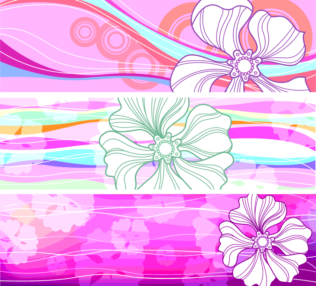 8 Vector Flower Banners (H)
