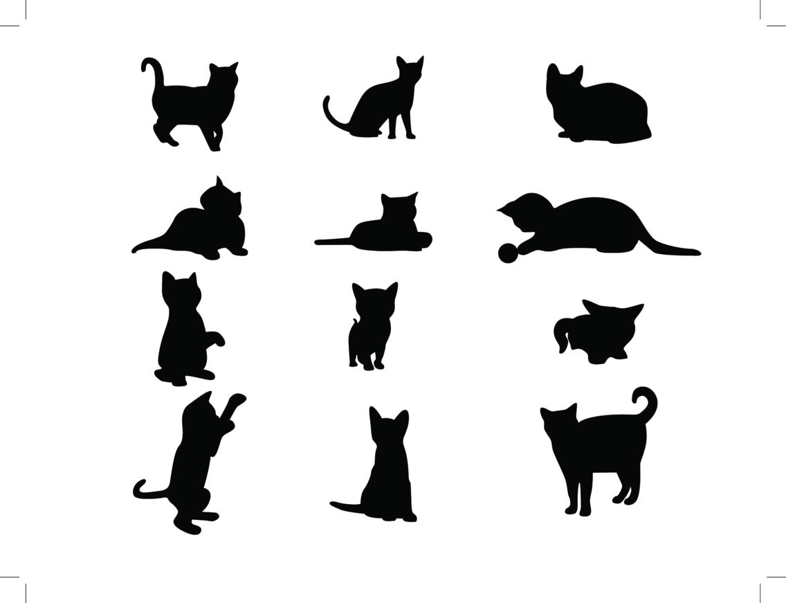 11 Cat Vector Silhouettes
