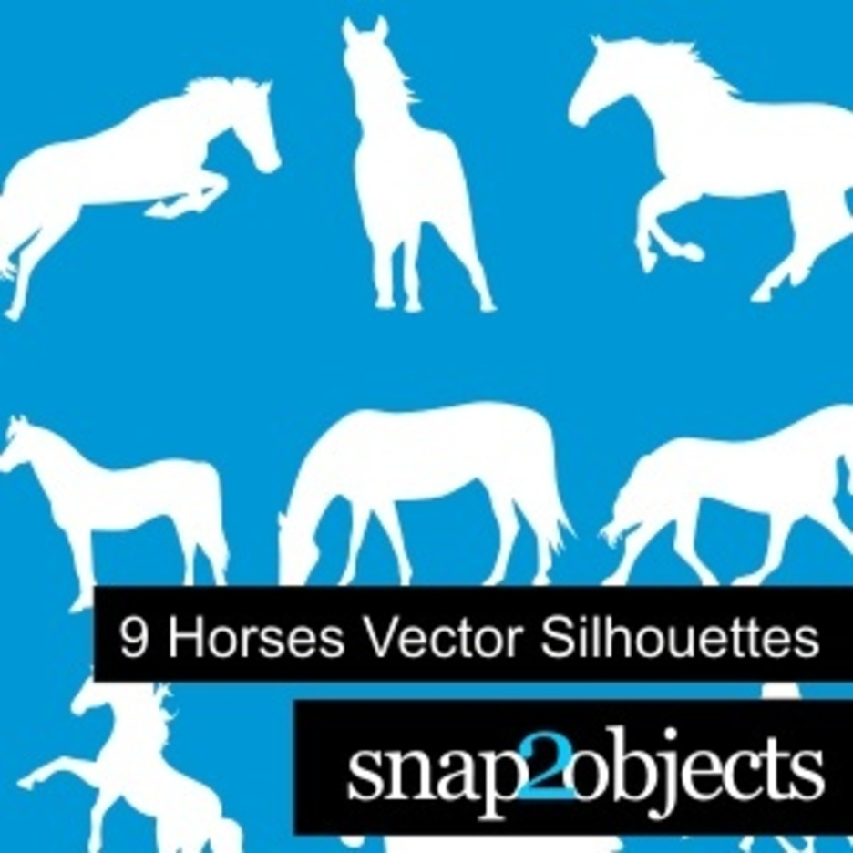 9 Horses Vector Silhouettes