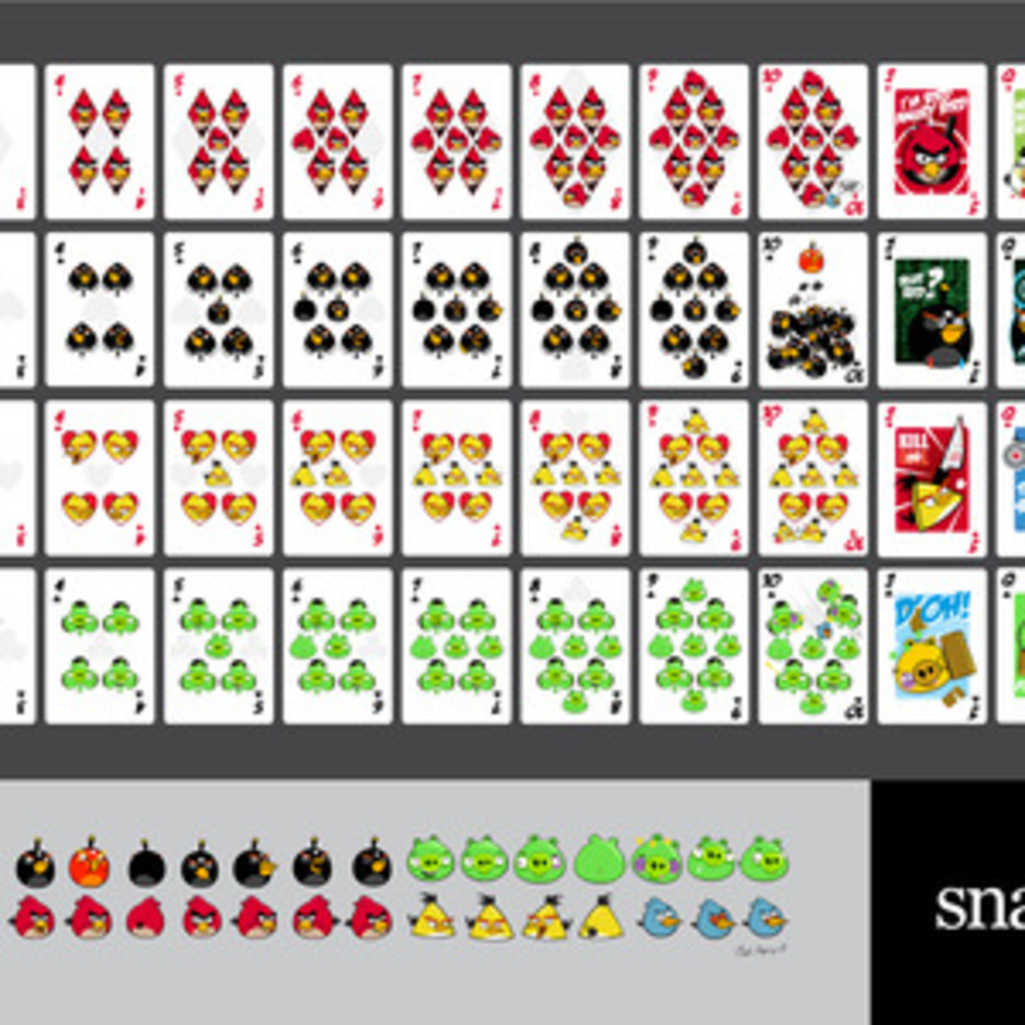 Angry Birds Playing Card Deck And Vector Characters
