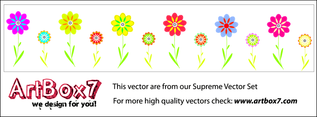 Colorful Flower Vectors By ArtBox7.com