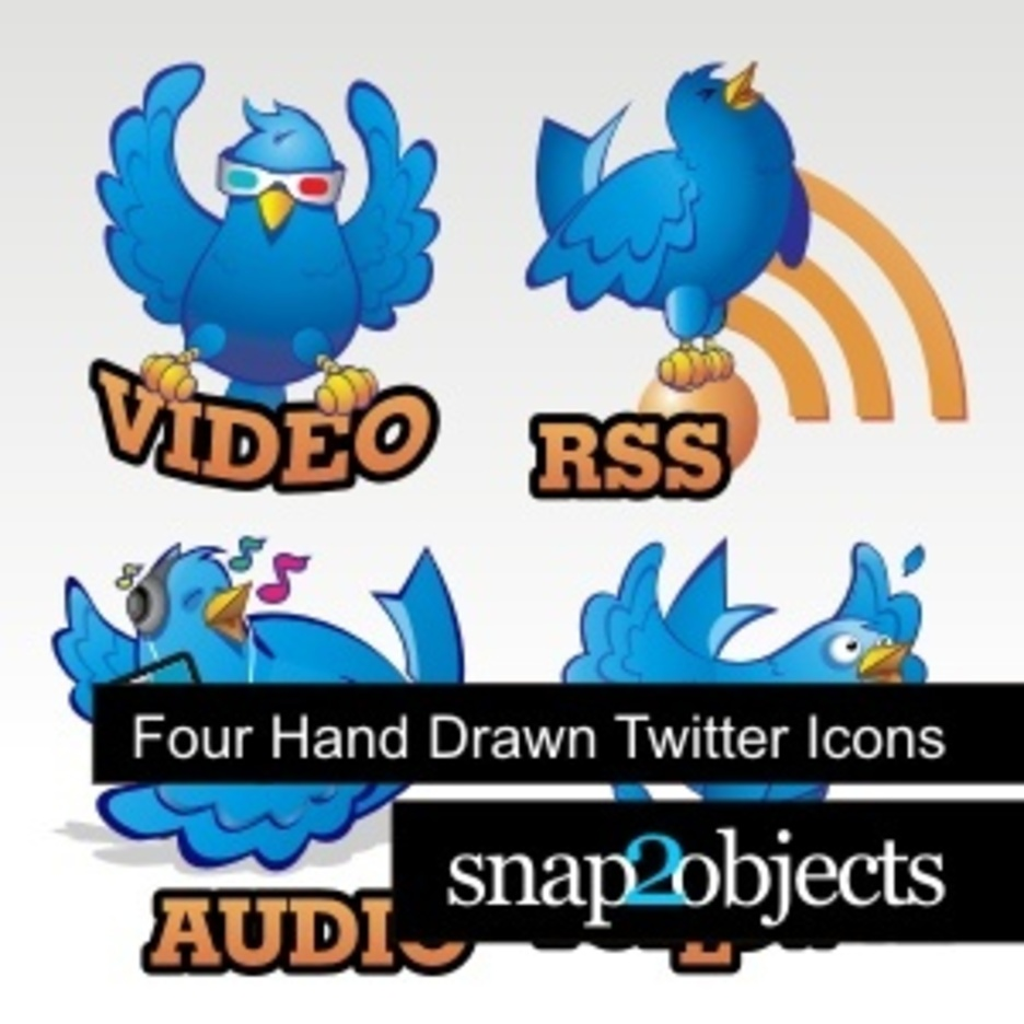 Four Hand Drawn Twitter Icons
