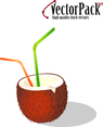 Coconut With Straws Free Vector