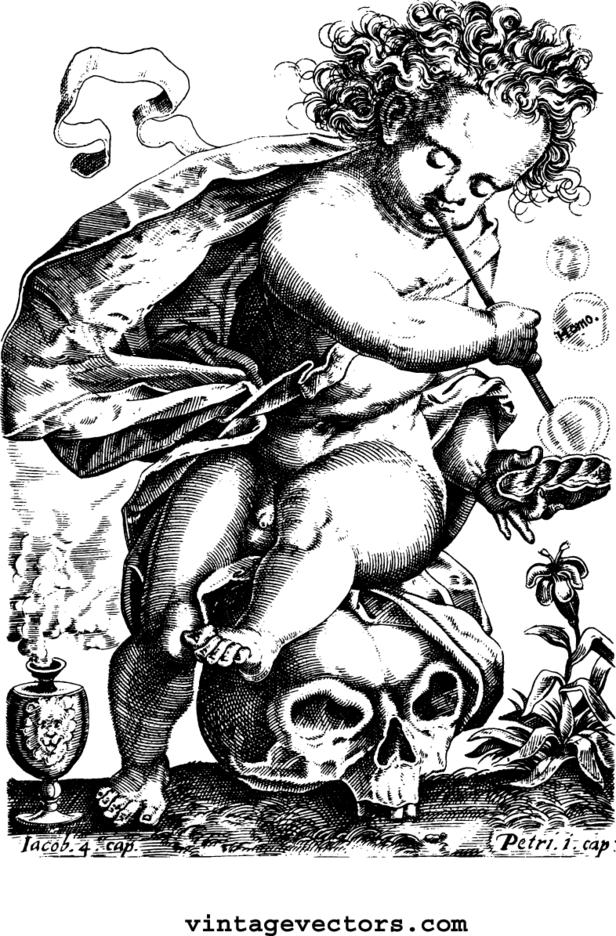 Cherub Sitting On Skull