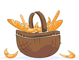 Basket With Pastry Vector